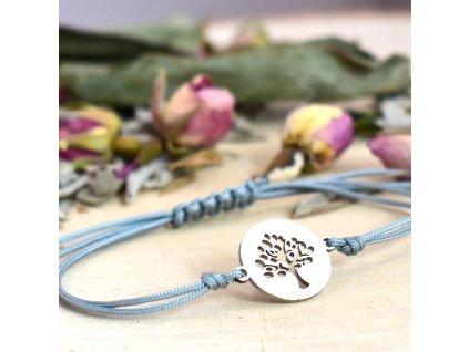 Shamballa náramek symbol STROM ŽIVOTA - chirurgická ocel, nylon