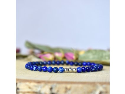 Náramek z minerálů UKLIDŇUJI MYSL - lapis lazuli, chirurgická ocel