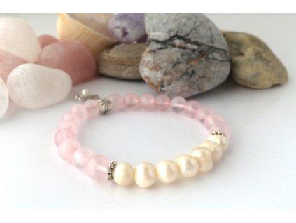 Náramek z minerálů Symbol lásky - růženín, říční perly