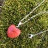 Přívěšek srdce ČERVENÝ KORÁL - menší