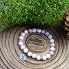 Náramek z minerálů KOZOROH - růžový opál, růžový zebrovaný jaspis, chirurgické ocel