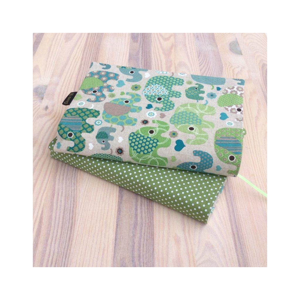 Obal na knihu Slon zelený/zelený puntík, OBS1488