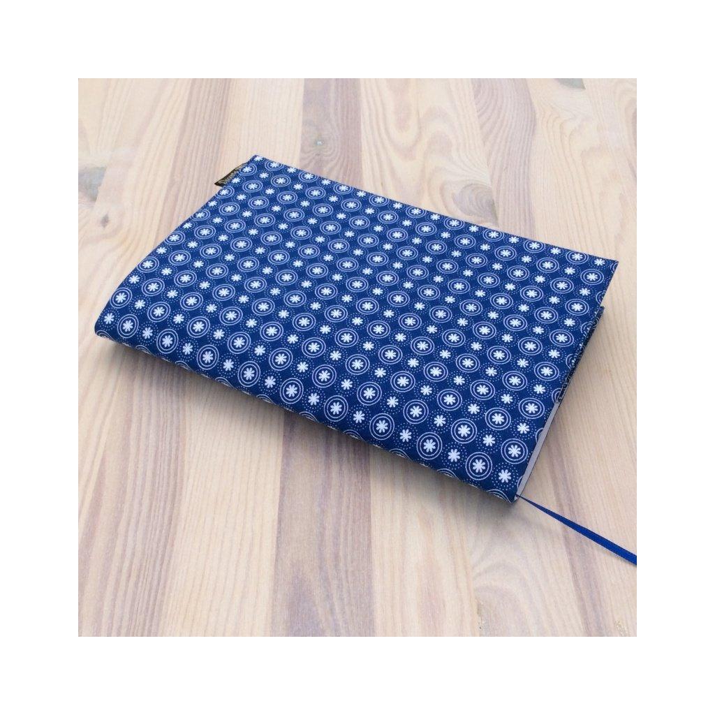 Obal na knihu Bílé kytičky na modré, S1377