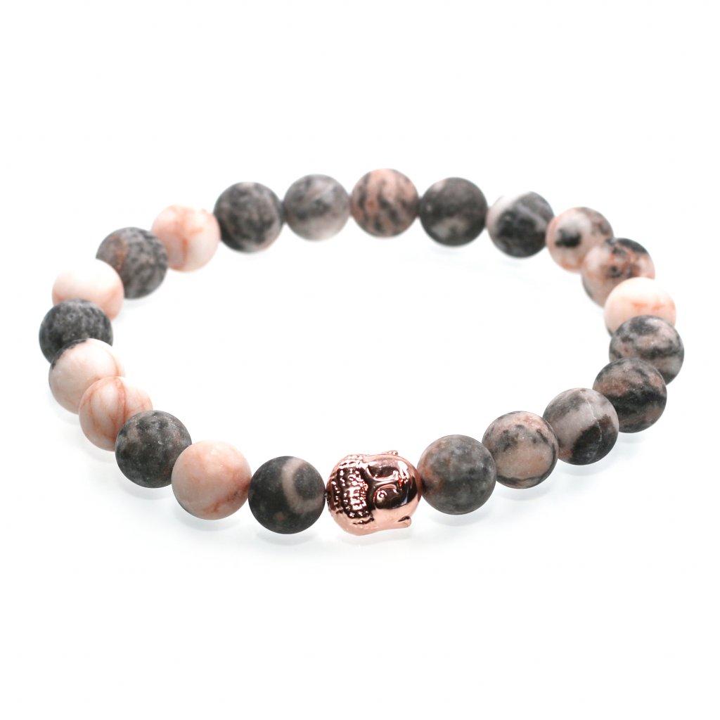 Náramek z minerálů, zebrovaný jaspis, buddha, mandarino
