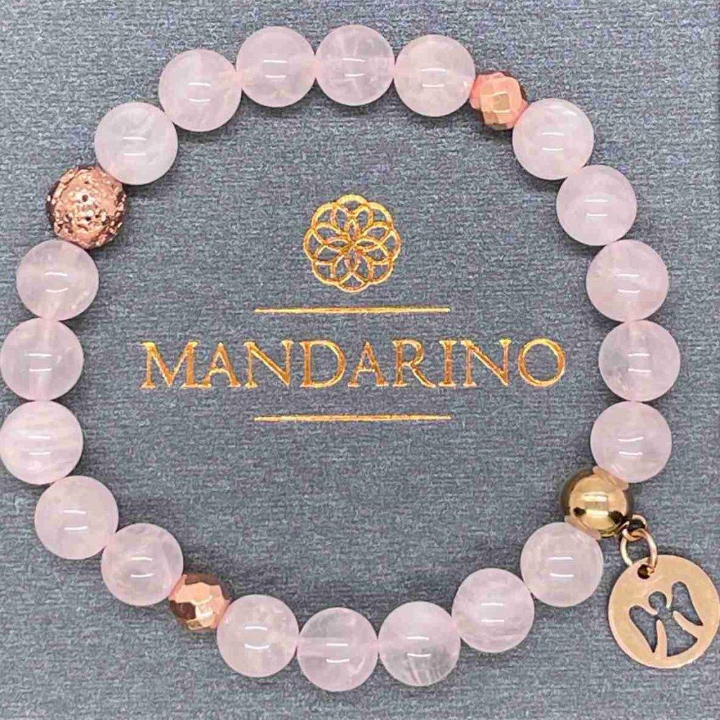 Minerální náramek, růženín, anděl, Mndarino