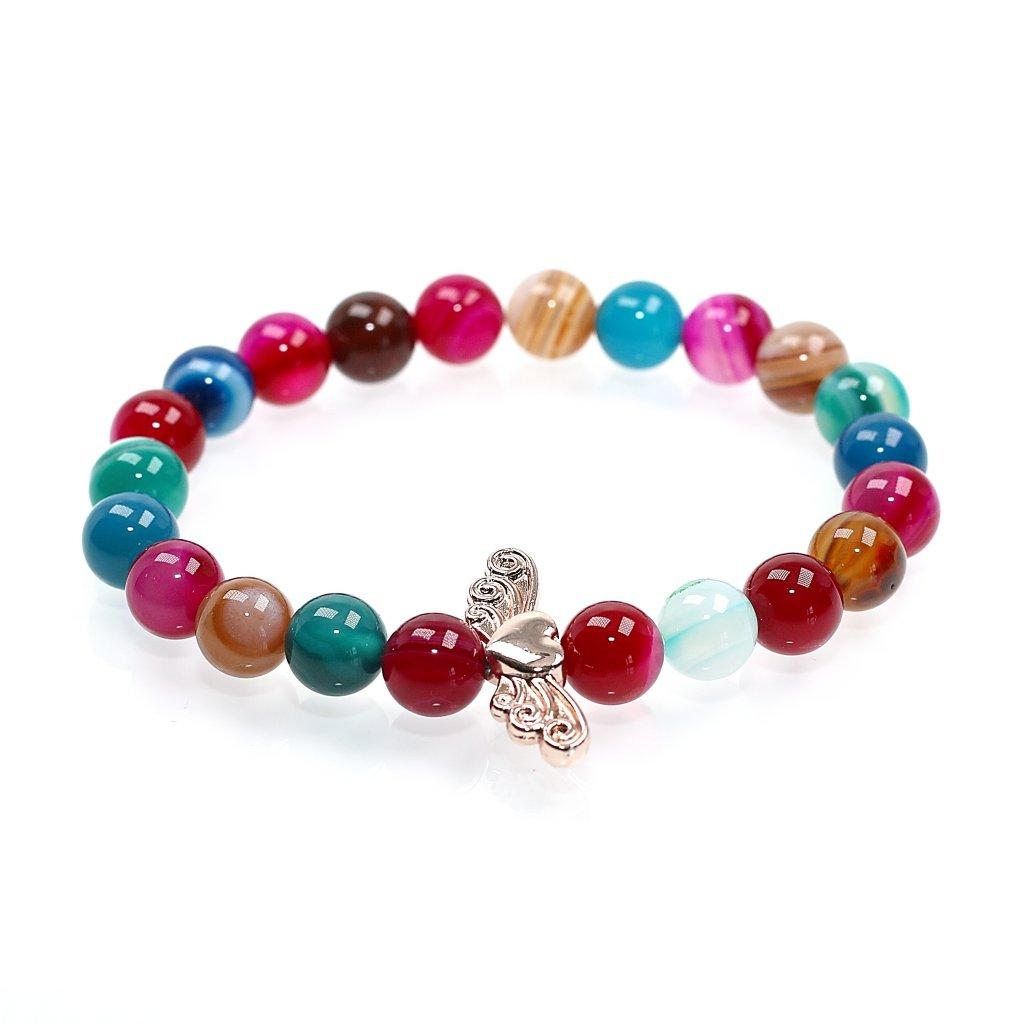 Náramek z minerálů, barevný achát, andělské srdce, mandarino