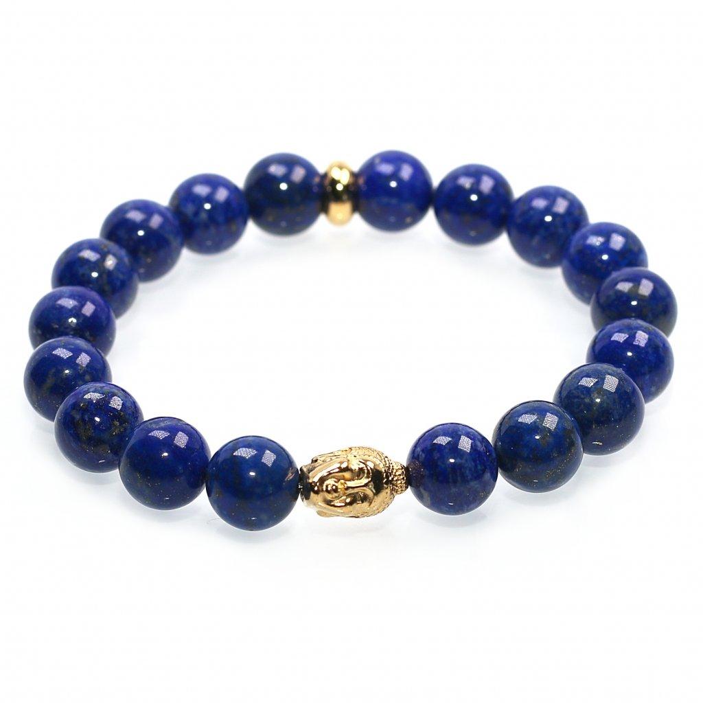 Náramek z minerálů, lapis lazuli, pozlacený buddha (2), Mandarino