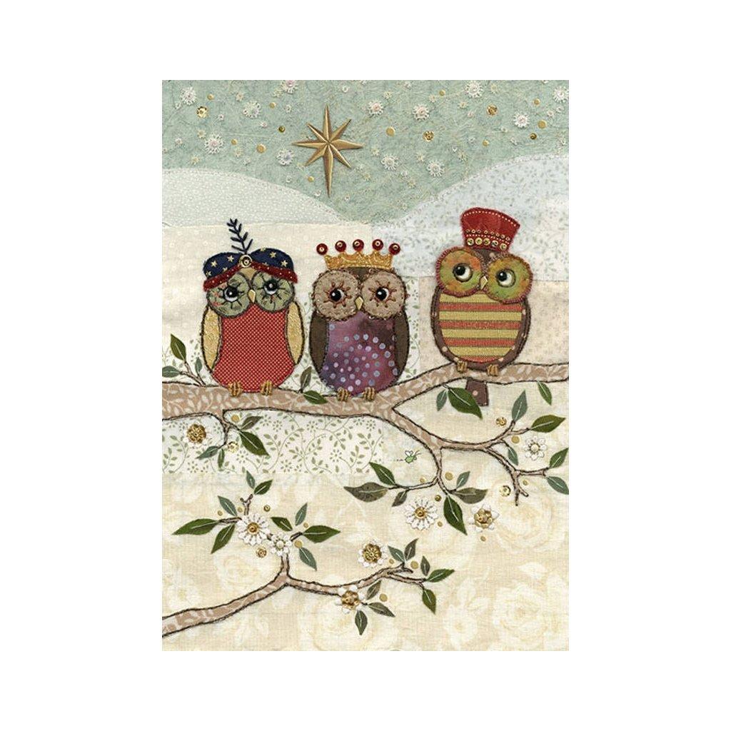 Přání do obálky Bug Art - Tree Wise Owls