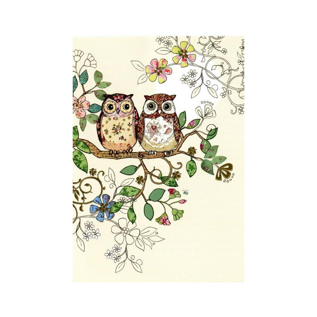 Přání do obálky Bug Art - Owl Pair