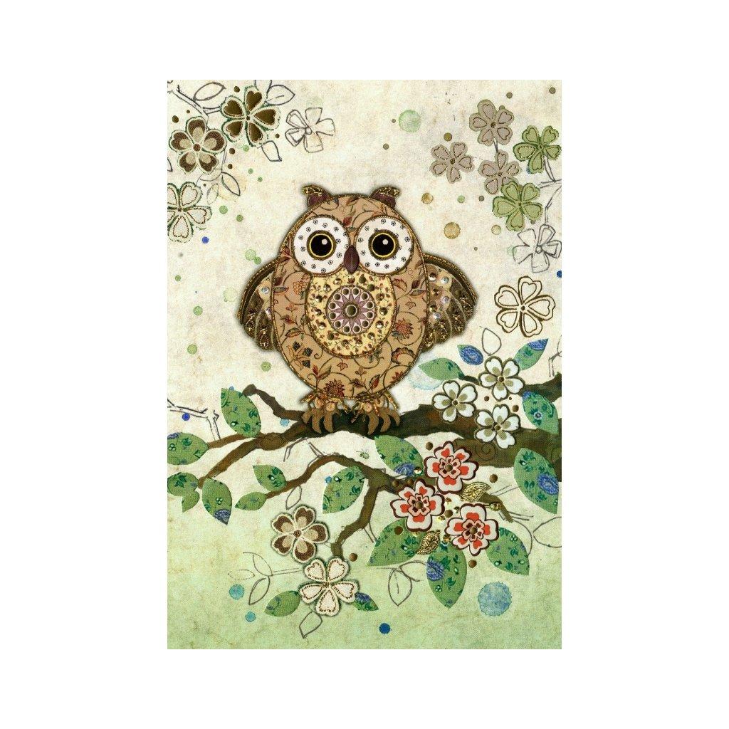 Přání do obálky Bug Art - Owl Collage