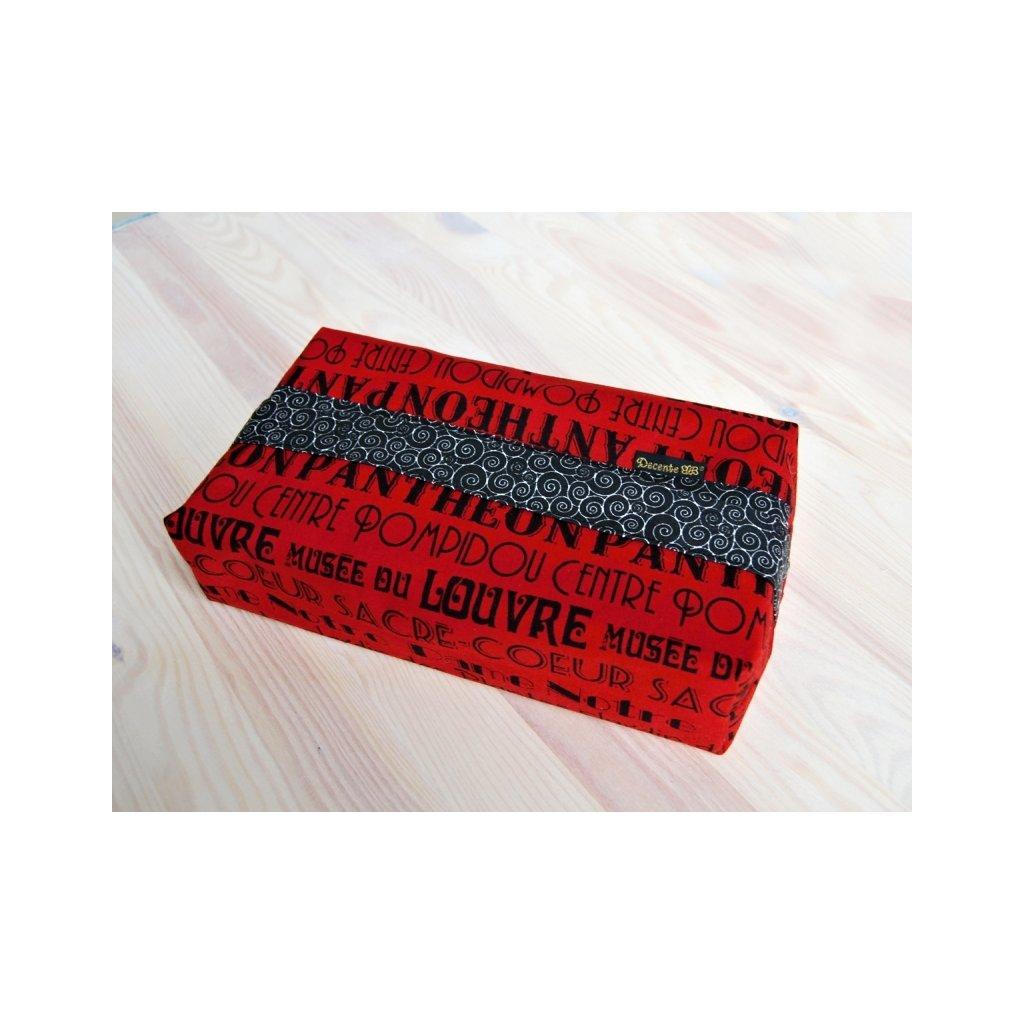 Obal na papírové kapesníky, Písmo v červené, KP1189