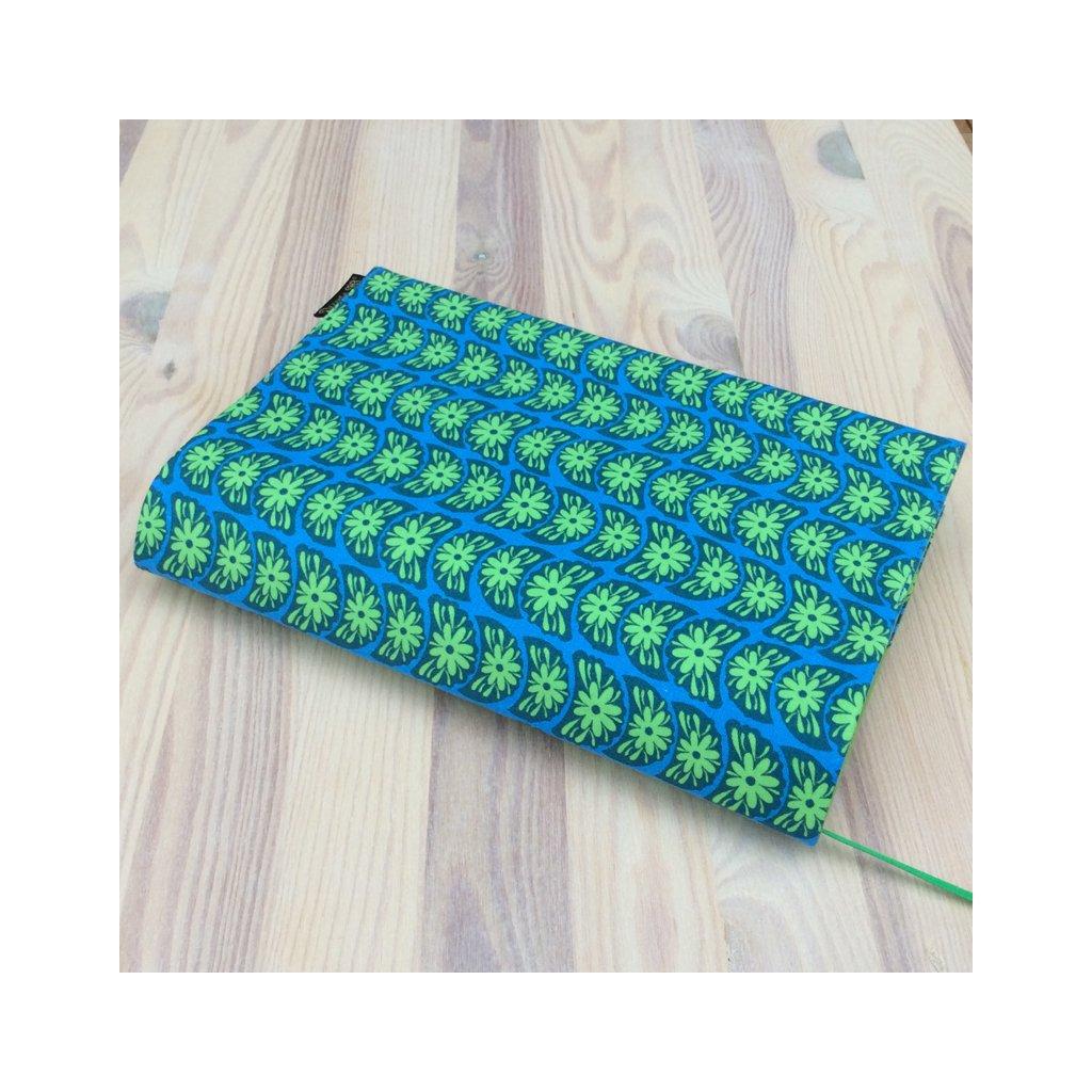 Obal na knihu Zelené květy na modré, L1083