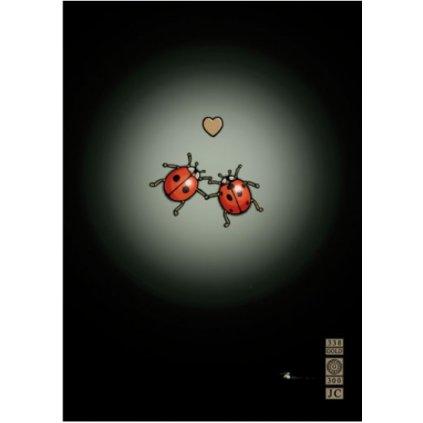Přání do obálky Bug Art - Ladybirds in Love