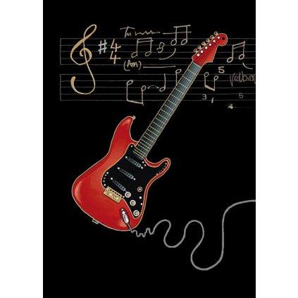 Přání do obálky Bug Art - Red Electric Guitar