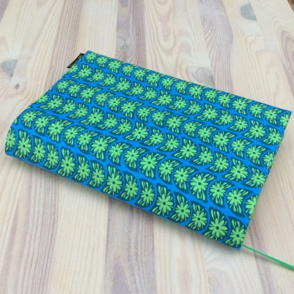 Obal na knihu Zelené květy na modré, M1083