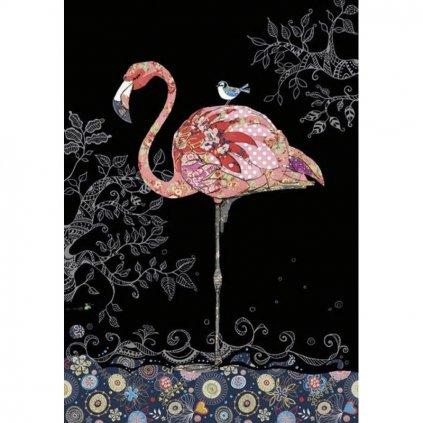 Přání do obálky Bug Art - Pink Flamingo