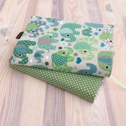 Obal na knihu Slon zelený/zelený puntík, OBM1488