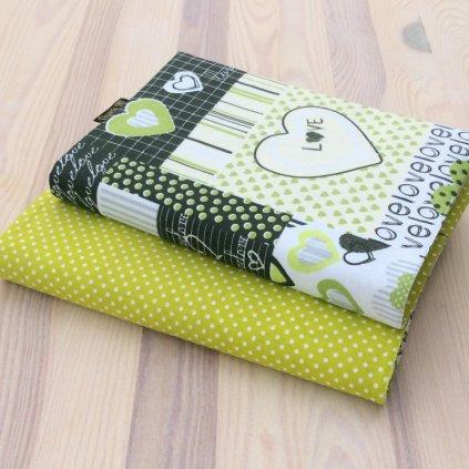 Obal na knihu Srdce Love zelené/puntíky na kiwi, OBS1308