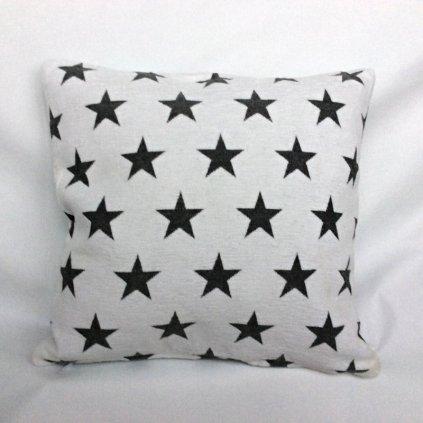 Dekorační povlak na polštář, vzor šedé hvězdy na bílé 40x40cm