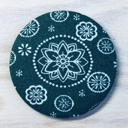 Zrcátko Mandala textilní zelená