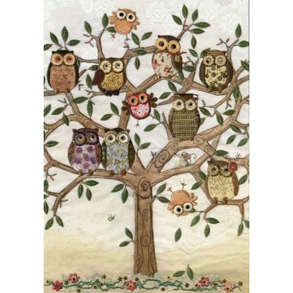 Přání do obálky Bug Art - Owl Family Tree