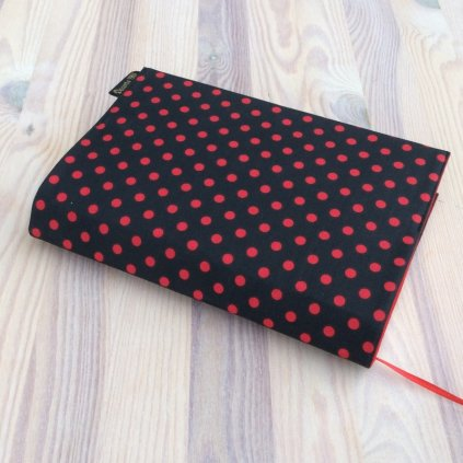 1511 Obal na knihu červený puntík na černé, Decente