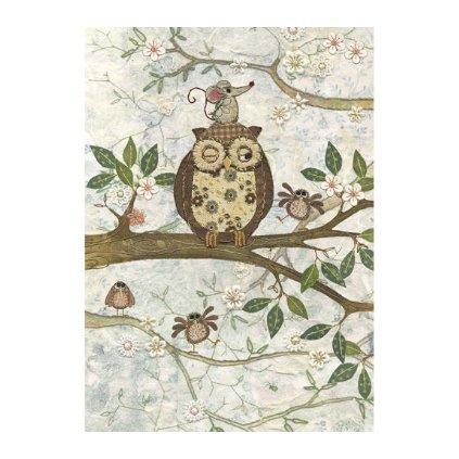 Přání do obálky Bug Art - Owl and Mouse