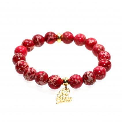 Náramek z minerálů, Červený regalit s pozlaceným srdcem, Mandarino