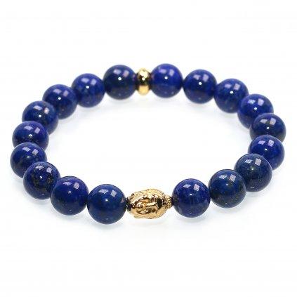 Náramek z minerálů Lapis Lazuli s pozlaceným amuletem Buddhy, Mandarino.cz