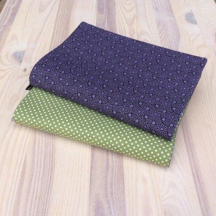 1281, Obal na knihu, zelené puntíky fialový vzor, Decente (1)