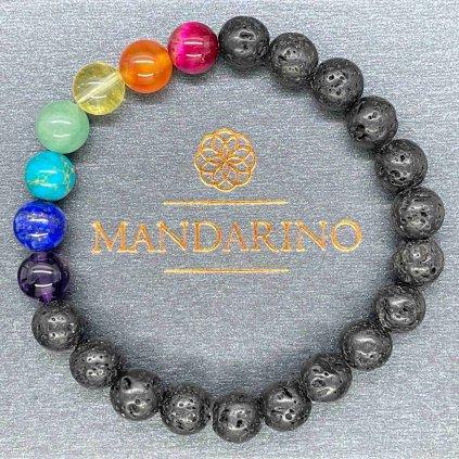 Čakrový náramek, černá láva, Mandarino