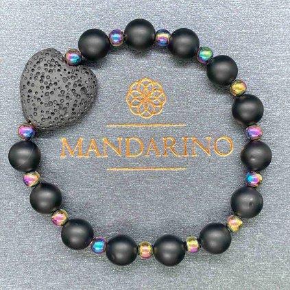 Minerální náramek,onyx,láva,Mandarino