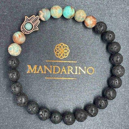 Minerální náramek,regalit,láva,Mandarino