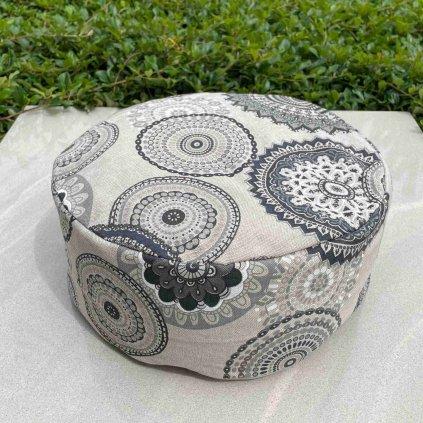 Meditační polštář - mandala šedá