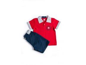 Chlapecký set oblečení: červené polo triko a kraťasy