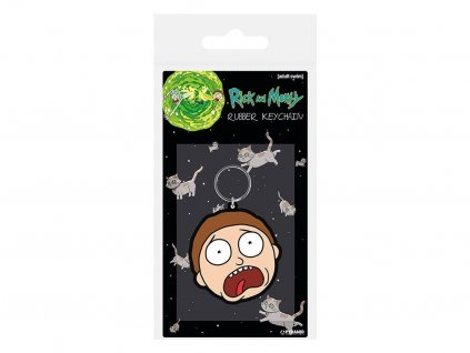 12455 1 rick morty rubber keychain morty terrified face 6 cm pyramid international