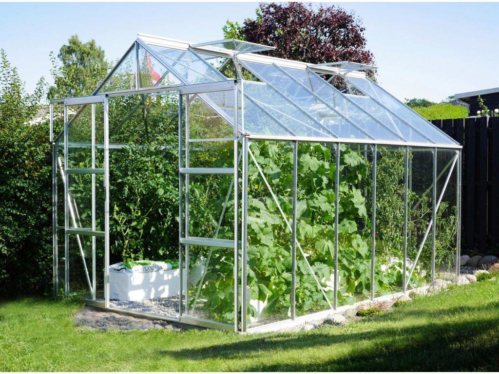 skleník VITAVIA URANUS 9900 čiré sklo 3 mm stříbrný
