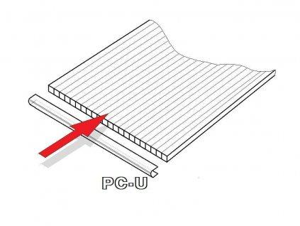 PC U-profil 6 mm pro obloukový skleník délka 2,10 m (1 ks)