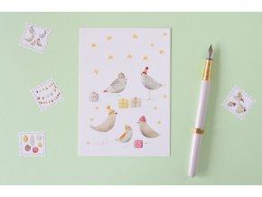 vanoce ptacci pohlednice
