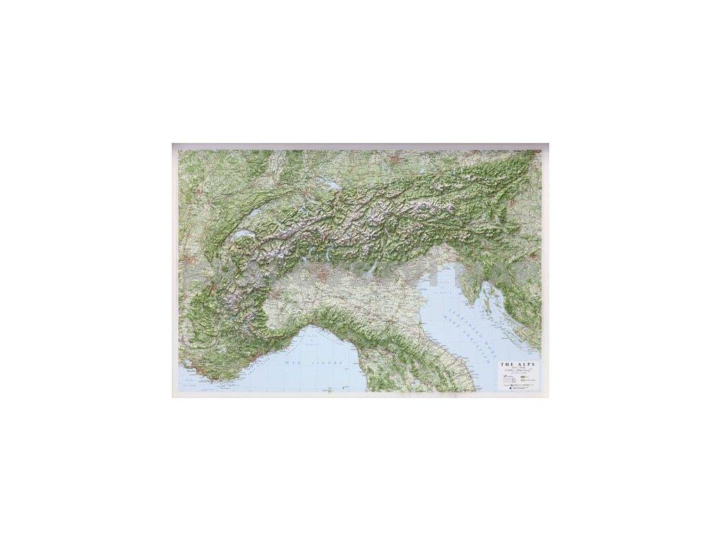 Alpy-reliéfní, nást. mapa  LAC 95x65cm