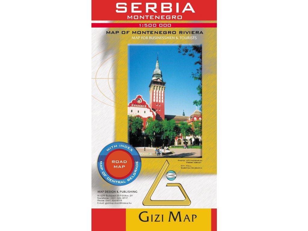 Srbsko a Černá hora,mapa 1:500tis. GIZI