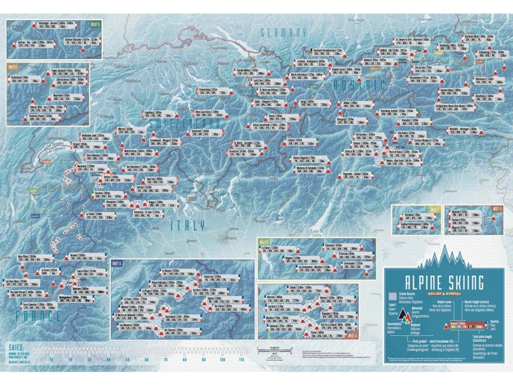 Stírací mapa Alpská lyžařská střediska