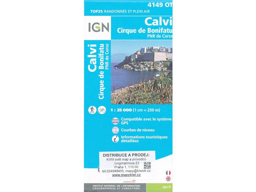 IGN 4149 OT Calvi., mapa. 1:25t (Korsika)