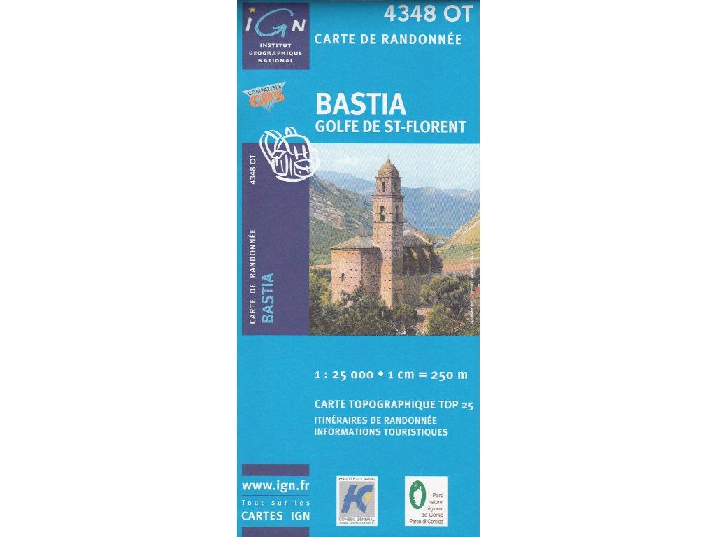 IGN 4348OT Bastia., mapa. mapa 1:25t