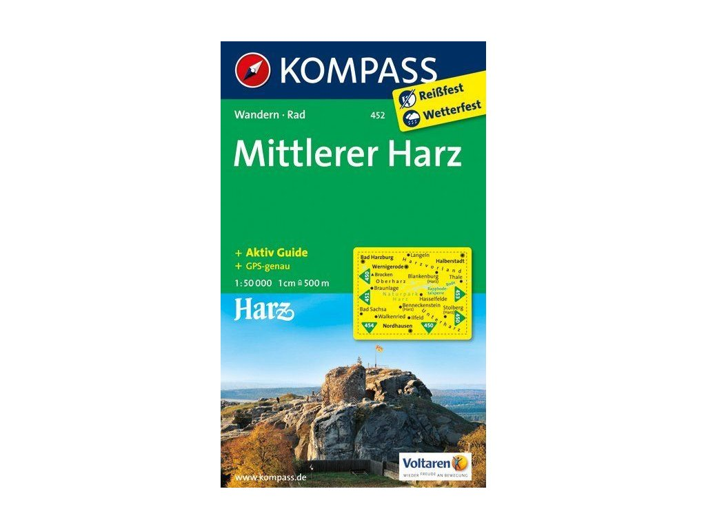 KOM 452 Harz-Mittleres 1:50t mapa KOMPAS