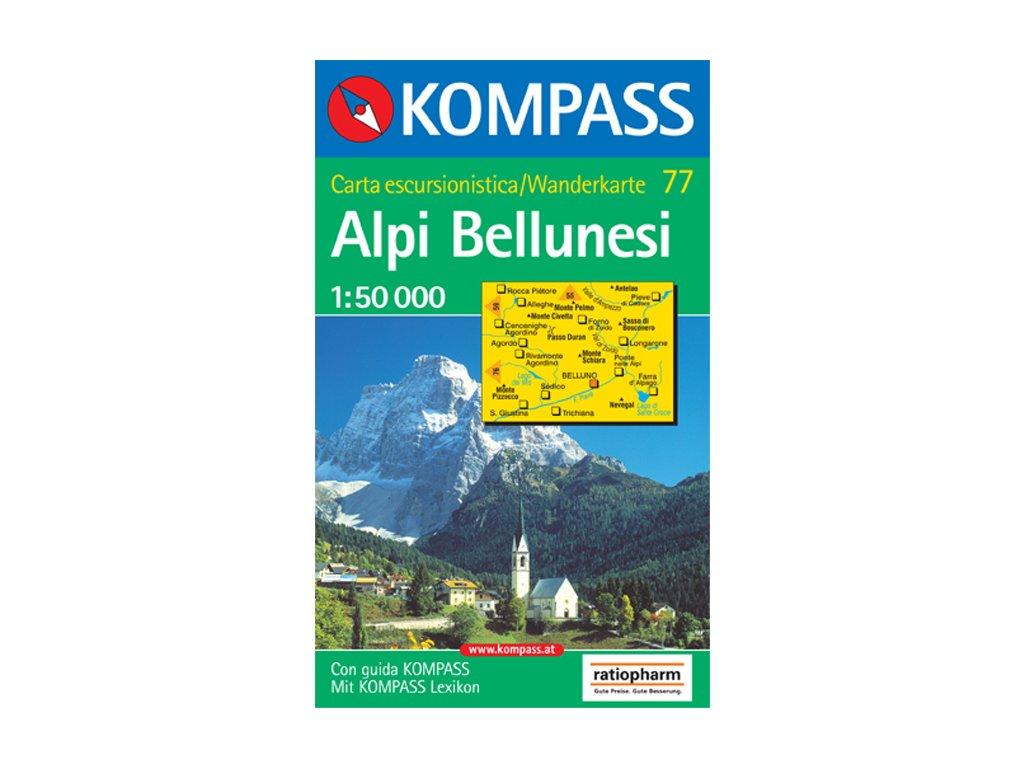 KOM 77 Alpy Bellunesi tur.mapa 1:50t