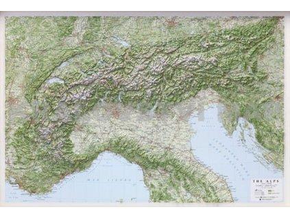 Alpy-reliéfní , nást. mapa LAC 95x65cm rámovaná