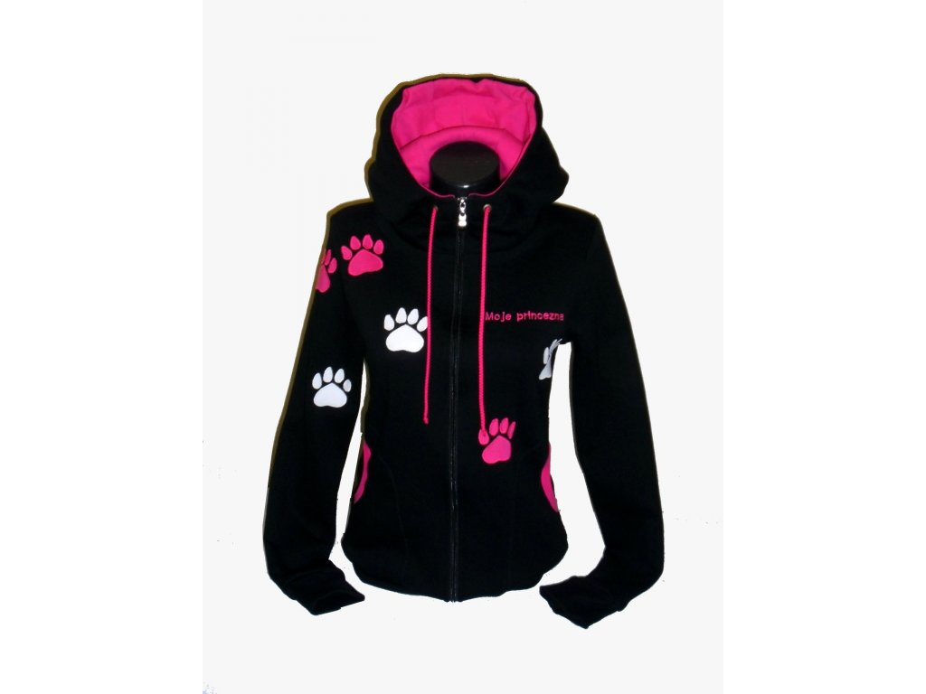 f09d09a4f0e Dámská černá mikina s růžovými tlapkami + výšivka na přání. - MARA eL.