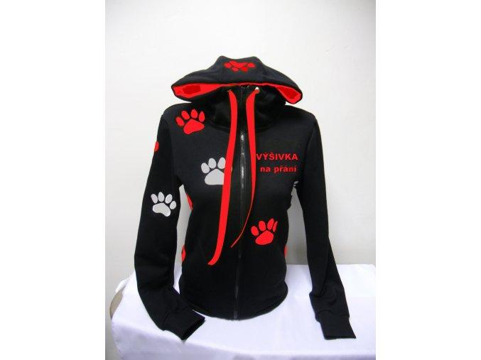 Dámská černá mikina s červenými tlapkami + výšivka na přání.