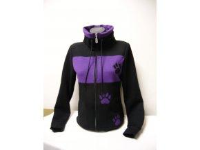 Černo fialová mikina,tlapka